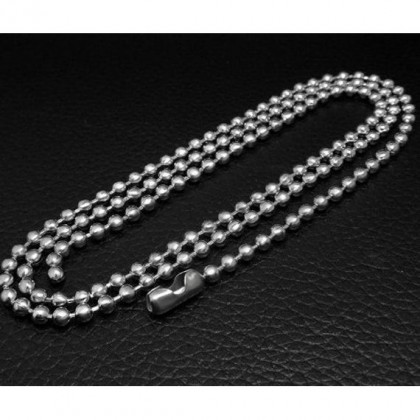 2PCS (One Pair) Stainless Steel Ball Bead Chain Necklace High Quality Silver Plated Nickel