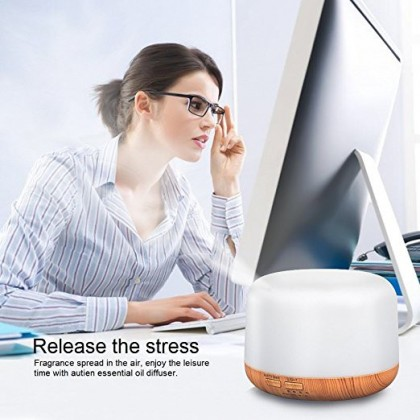 Ultrasonic Essential Oil Aroma Diffuser Humidifier Air Purifier (Sphere)- Light Wood Grain