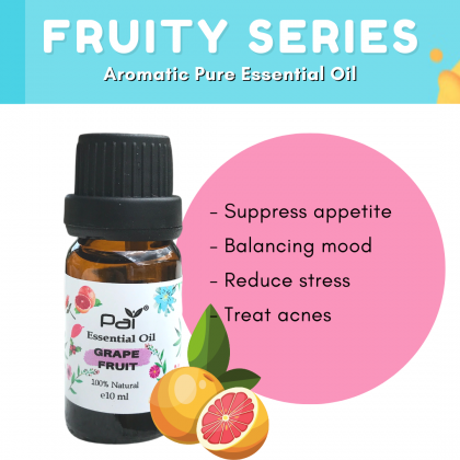 PAI Fruity Series Aromatic Grape Fruit 100% Pure Essential Oil Best for Diffuser and Aromatherapy  - Grape Fruit Essential Oil 10ml