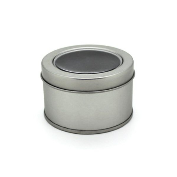 Round Tin Box with Window Storage Aluminum Tin Containers Gifts Box Packing Metalic Silver Tin Box round shaped