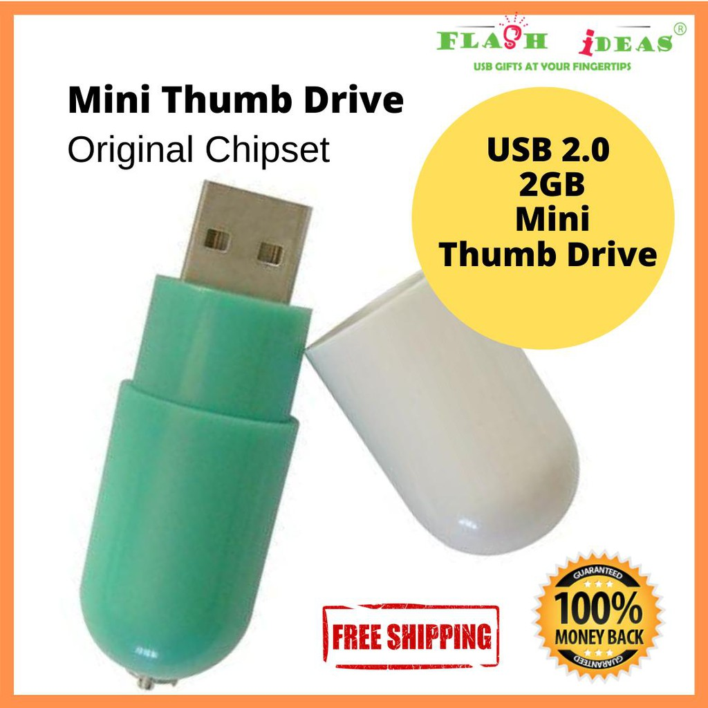 Pill Shape Thumb Drive Flash Drive Thumb Drive 2GB Green OEM WHOLESALE