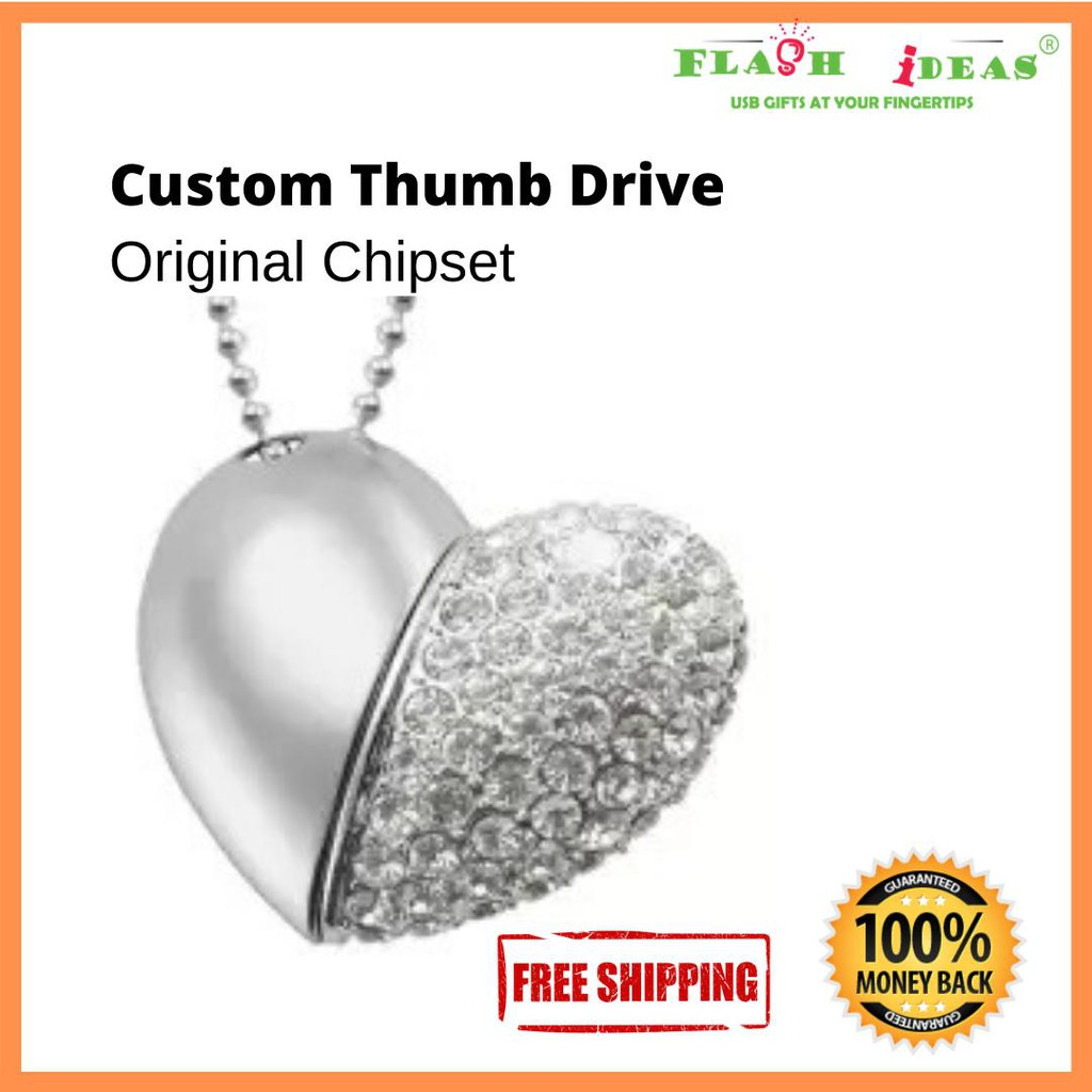 Elegant USB2.0 16GB Crystal Heart Shape Thumb Drive Pen Drive Flash Drive Memory stick Metal Chrome High quality